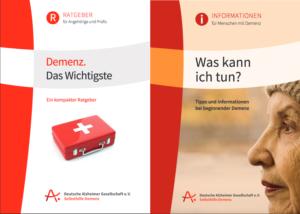 """Titelseiten der beiden Broschüren """"Demenz das Wichtigste"""" und """"Was kann ich tun?"""""""
